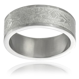 Vance Co. High-Polish Stainless-Steel Men's Etched Band (8 mm)