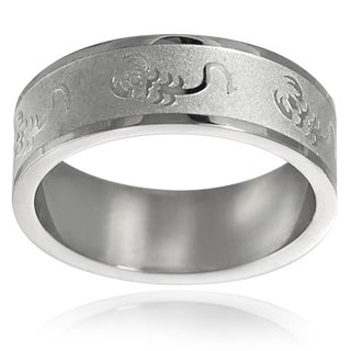 Vance Co. Stainless-Steel Men's Etched Wedding Band (8 mm)