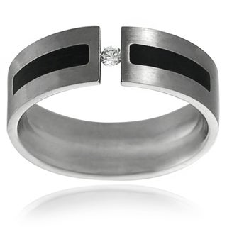 Vance Co. Stainless Steel Men's Cubic Zirconia Wedding Band (7 mm)