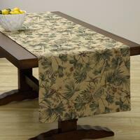 Corona Decor Extra Wide Italian Woven 95 x 26-inch Monkey Table Runner - Green/Tan - 95 x 26