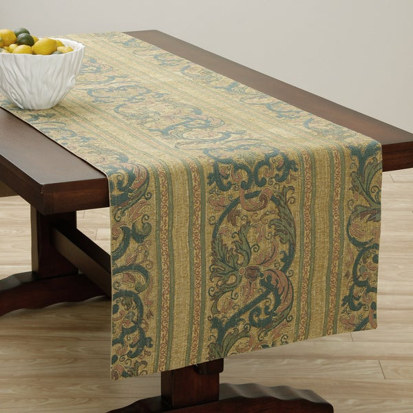 Corona Decor Extra Wide Italian Woven 95 x 26-inch Classic Gold Table Runner