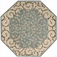 Nourison Hand-tufted Versailles Palace Aqua Green Rug (5'3 x 8'3)