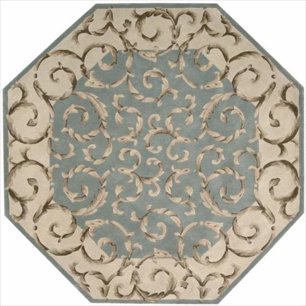 Nourison Hand-tufted Versailles Palace Aqua Green Rug (5'3 x 8'3) - 5'3 x 8'3