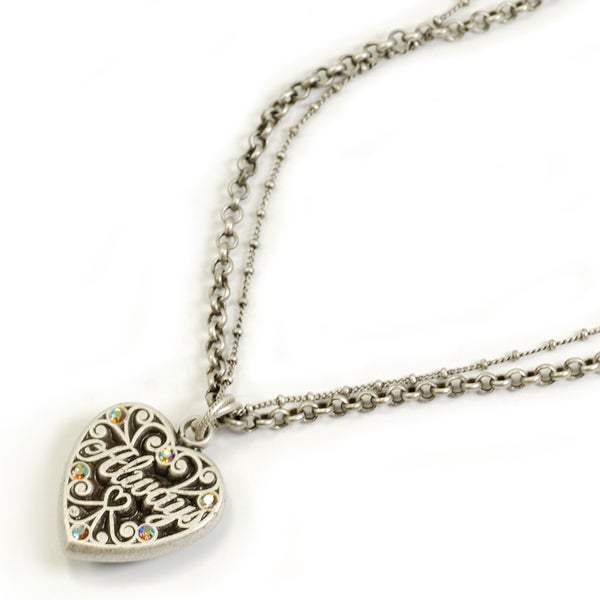 Sweet Romance Crystal Two-sided 'Always' Heart Necklace