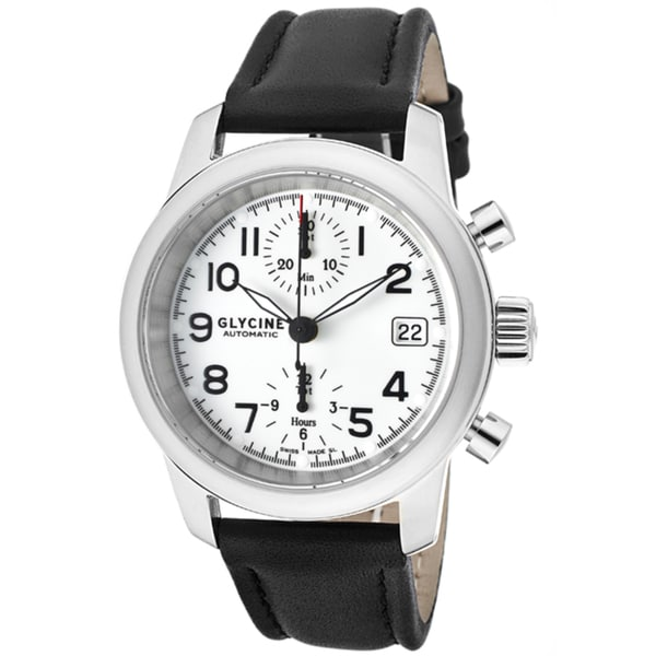 Glycine Men's 'Ningaloo Reef' Black Genuine Leather Watch