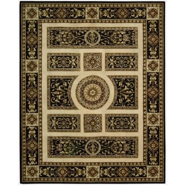 Nourison Hand-tufted Versailles Palace Ivory/Black Rug (5'3 x 8'3)