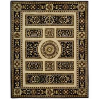 Nourison Hand-tufted Versailles Palace Ivory/Black Rug (7'6 x 9'6)
