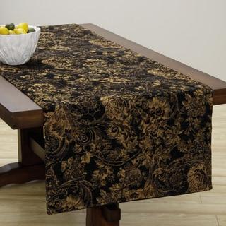 Corona Decor Extra Wide Italian Woven 95 x 26-inch Black/ Beige Table Runner
