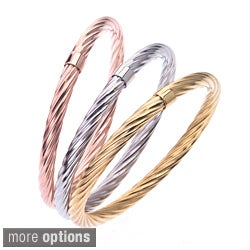 Stainless Steel Colored Twist Pattern Stackable Bangle By Ever One