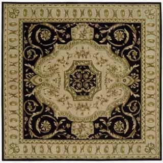 Nourison Hand-tufted Versailles Palace Black Floral Rug (8' x 8') Square