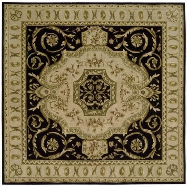 Nourison Hand-tufted Versailles Palace Black Floral Rug (8' x 8') Square