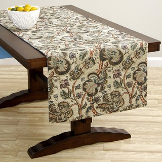 Extra Wide Italian Woven Beige Floral Table Runner 95 x 26 inches