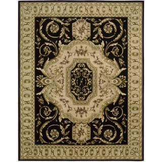 Nourison Hand-tufted Versailles Palace Black Floral Rug (7'6 x 9'6)