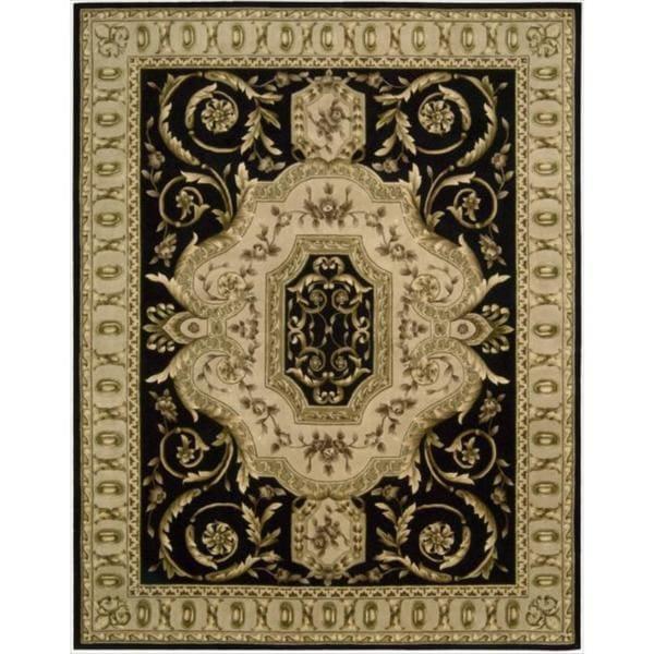 Nourison Hand-tufted Versailles Palace Black Floral Rug - 8' x 11'