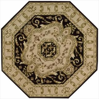 Nourison Hand-tufted Versailles Palace Black Floral Rug (6' x 6') Octagon