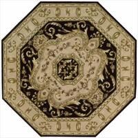Nourison Hand-tufted Versailles Palace Black Floral Rug (6' x 6') Octagon - 6' x 6'