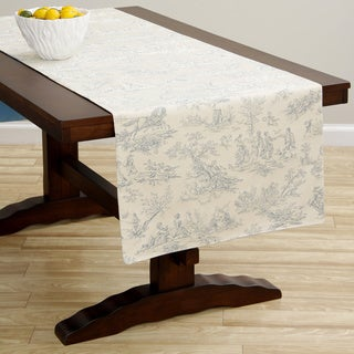 Corona Decor Extra Wide Italian Woven 95 x 26-inch Blue Print Table Runner