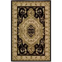 Nourison Hand-tufted Versailles Palace Black Floral Rug (5'3 x 8'3)