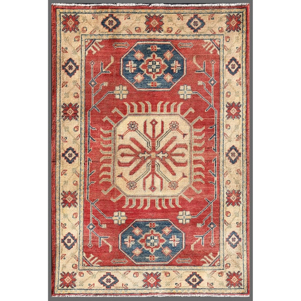 Afghan Hand-knotted Kazak Red/ Ivory Wool Rug (3'4 x 4'10)