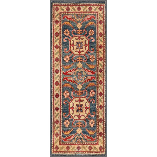 Afghan Hand-knotted Kazak Navy/ Beige Wool Rug (2'2 x 6'2)