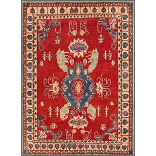 Herat Oriental Afghan Hand-knotted Kazak Red/ Beige Wool Rug (6'8 x 9')