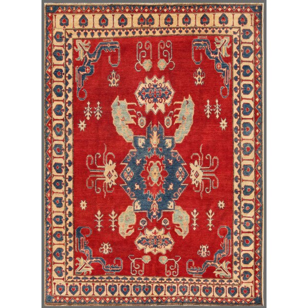 Herat Oriental Afghan Hand-knotted Kazak Wool Rug (6'8 x 9')