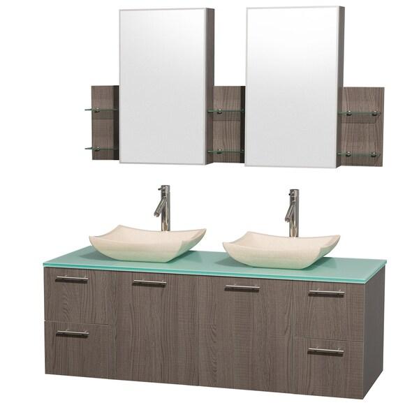 Wyndham Collection 'Amare' 60-inch Grey Oak/ Green Top/ Marble Sink Vanity Set