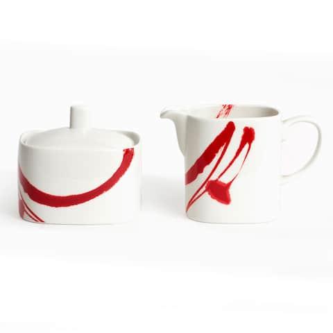 Paint it Red Sugar bowl & Creamer Set