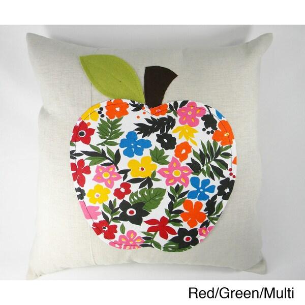 Multicolored Apple Aplique Cushion Cover
