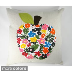Multicolored Apple Aplique Cushion Cover