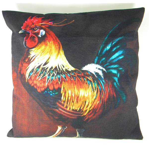 Rooster Hand-Printed Cushion Cover
