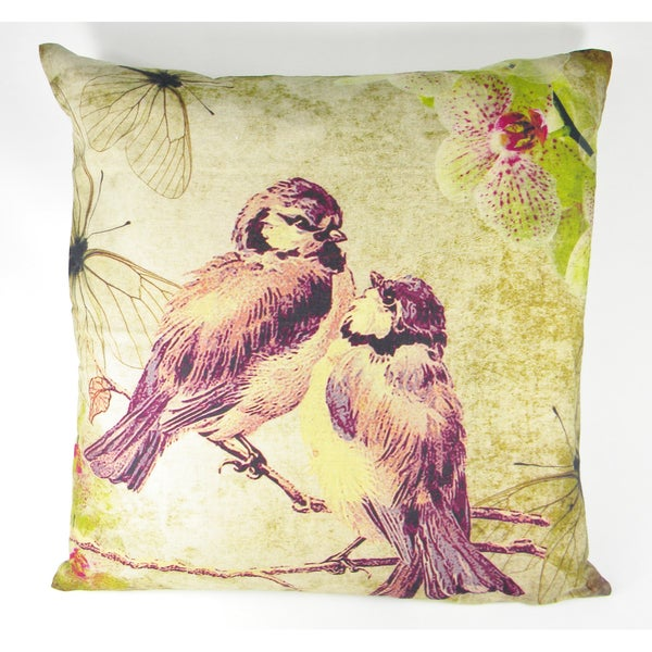Printed Love Birds on a Branch Cushion Cover