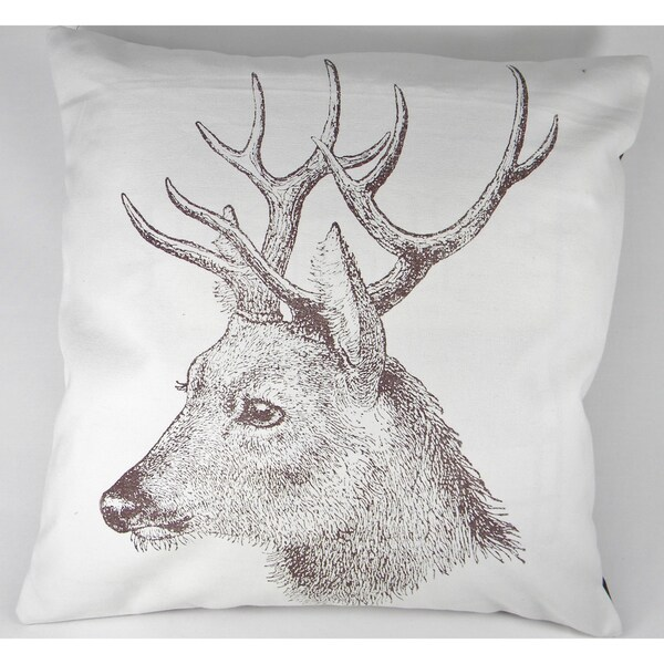 Deer Silk-Screen Printed Cushion Cover