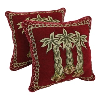 Blazing Needles Palm Chenille Throw Pillow (Set of 2)