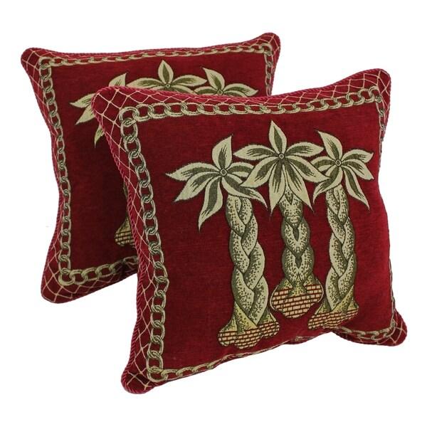 Blazing Needles Palm Chenille Throw Pillow (Set of 2)