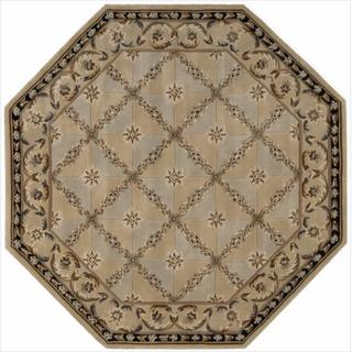 Nourison Hand-tufted Versailles Palace Beige/Blue Rug (6' x 6') Octagon