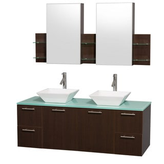 Wyndham Collection 'Amare' 60-inch Espresso/ Green Top/ White Sink Vanity Set