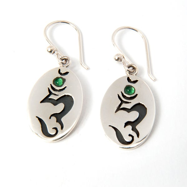 Sterling Silver Hum Mantra Earrings with Green Quartz (Nepal)