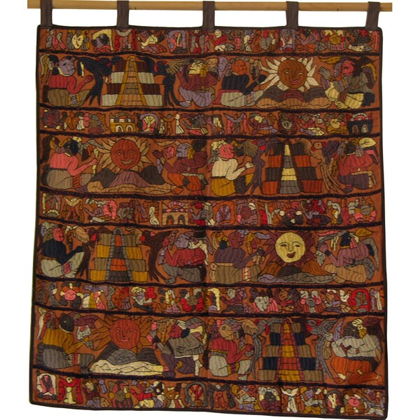 Brown Hand-Embroidered Mayan Tapestry (Guatemala)