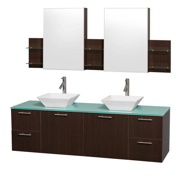 Wyndham Collection 'Amare' 72-inch Espresso/ Green Top/ White Sink Vanity Set
