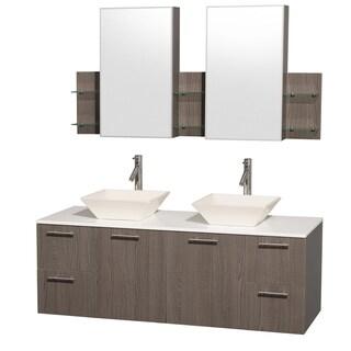 Wyndham Collection 'Amare' 60-inch Grey Oak/ White Top/ Bone Sink Vanity Set