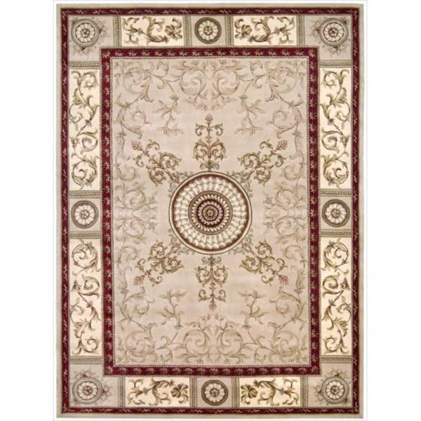 Nourison Hand-tufted Versailles Palace Beige/Red Rug (7'6 x 9'6)