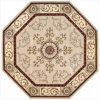 Nourison Hand-tufted Versailles Palace Beige/Red Rug (6' x 6') Octagon