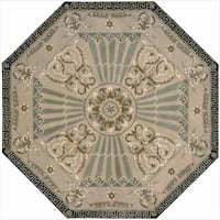 Nourison Hand-tufted Versailles Palace Beige/ Green Rug Octagon - 6' x 6'