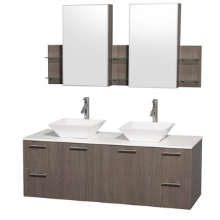 Wyndham Collection 'Amare' 60-inch Grey Oak/ White Top/ White Sink Vanity Set
