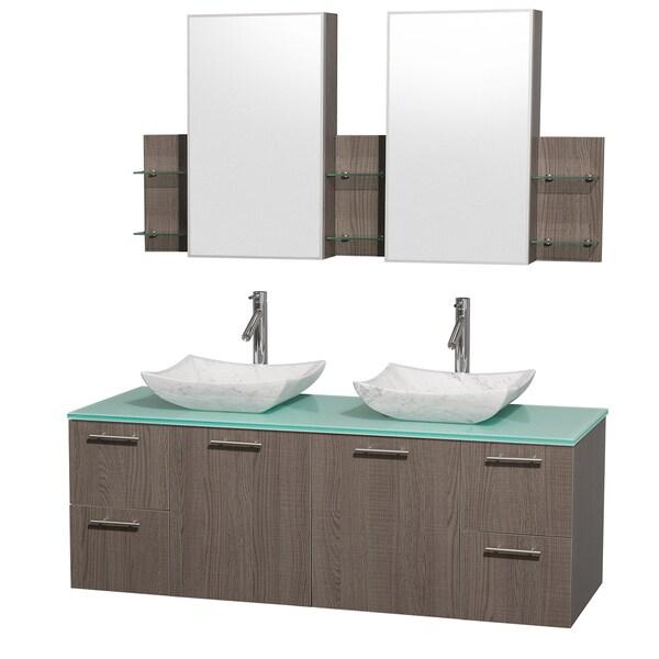 Wyndham Collection 'Amare' 60-inch Grey Oak/ Green Top/ Carrera Marble Sink Vanity Set