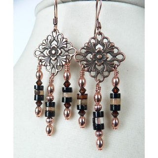 'Magdalena' Copper and Agate Dangle Earrings