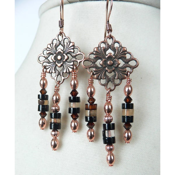 'Magdalena' Copper and Agate Dangle Earrings