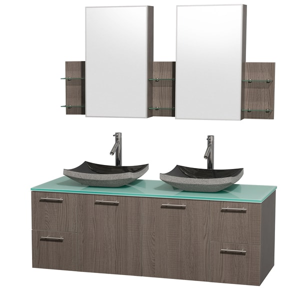 Wyndham Collection 'Amare' 60-inch Grey Oak/ Green Top/ Granite Sink Vanity Set
