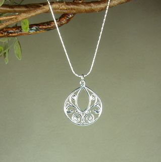 Jewelry by Dawn Fancy Filigree Teardrop Dainty Sterling Silver Necklace